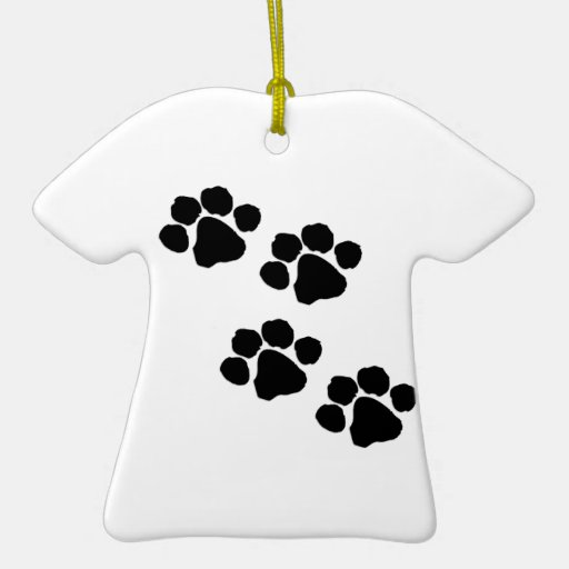 Animal Paw Prints Double-Sided T-Shirt Ceramic Christmas Ornament
