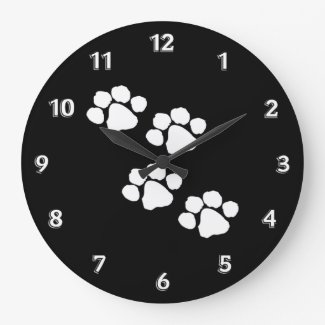 Paw Prints Round Wall Clock
