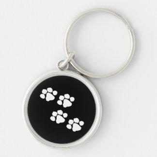 Animal Paw Prints Silver-Colored Round Keychain