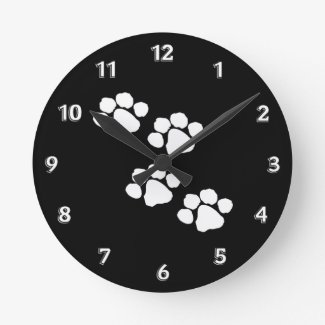 Animal Paw Prints Wallclock