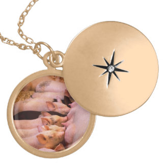 Animal - Pig - Comfort food Gold Plated Necklace