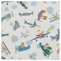 Animal Pilots Flying Airplanes Vehicle Pattern Fabric