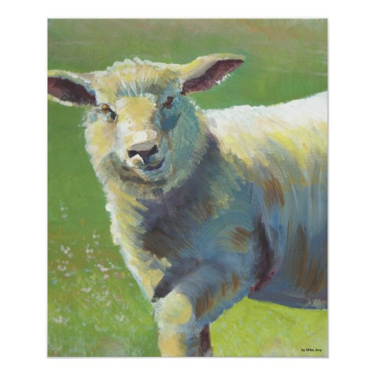 Animal Portrait Painting of a Sheep Poster