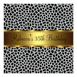 Animal Print 35th Elegant Birthday Party Card