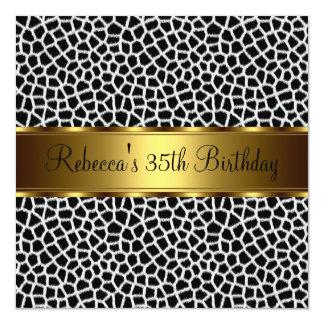 Animal Print 35th Elegant Birthday Party 5.25x5.25 Square Paper Invitation Card