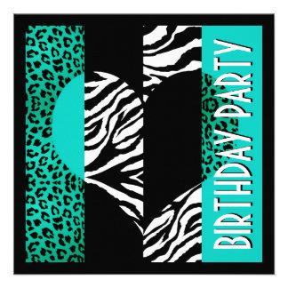 Animal Print Aqua Blue Leopard Black & White Zebra Personalized Invite