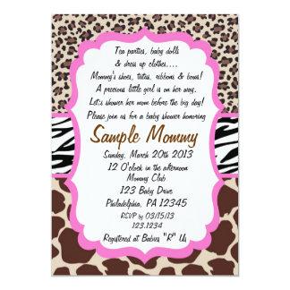 "Animal Print Baby Shower Invitation 5"" X 7"" Invitation Card"