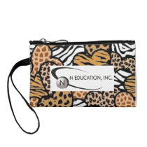 Animal print baggettes bag with iN Education logo