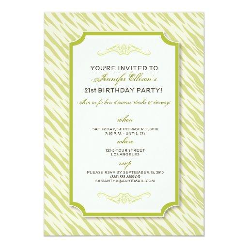 Animal Print Birthday Party Invitation (lime)