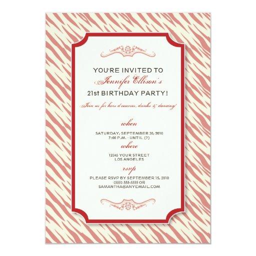 animal print birthday party invitation red zazzle
