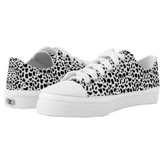 Animal Print Black and White Leopard Print Low-Top Sneakers