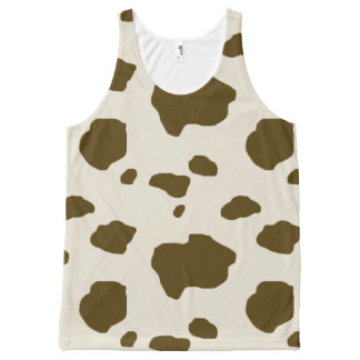 Animal Print Brown Cow Spots All-Over-Print Tank Top