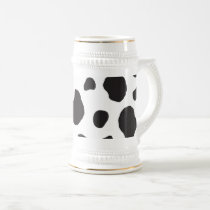 Animal Print, Cow Pattern, Cow Spots - White Black Beer Stein