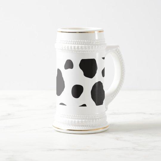 Animal Print, Cow Pattern, Cow Spots - White Black Beer Stein
