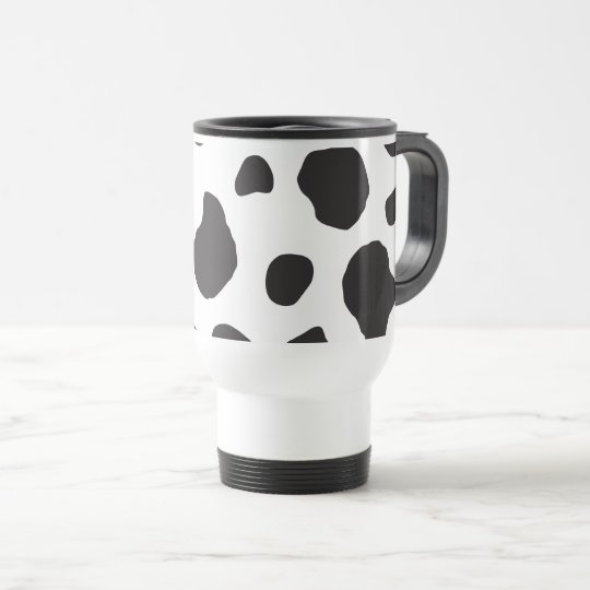Animal Print, Cow Pattern, Cow Spots - White Black Travel Mug