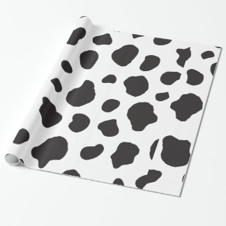 Animal Print, Cow Pattern, Cow Spots - White Black Wrapping Paper