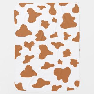 Animal Print (Cow Print), Cow Spots - Brown White Stroller Blanket