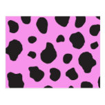 Animal Print (Cow Print), Cow Spots - Pink Black Post Card