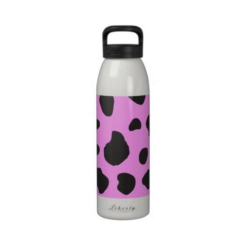 Animal Print (Cow Print), Cow Spots - Pink Black Reusable Water Bottles