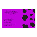 Animal Print (Cow Print), Cow Spots - Purple Black Double-Sided Standard Business Cards (Pack Of 100)