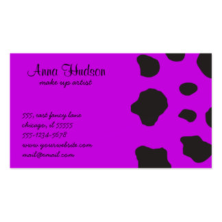 Animal Print (Cow Print), Cow Spots - Purple Black Business Cards
