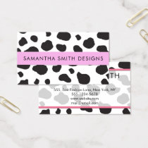 Animal Print (Cow Print), Cow Spots - White Black Business Card