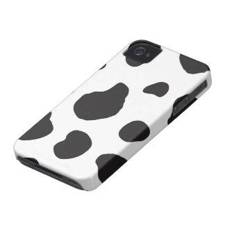 Animal Print (Cow Print), Cow Spots - White Black iPhone 4 Case