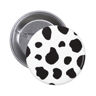 Animal Print (Cow Print), Cow Spots - White Black Pinback Button