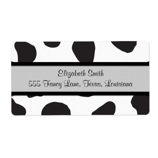 Animal Print (Cow Print), Cow Spots - White Black Shipping Label