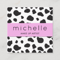 Animal Print (Cow Print), Cow Spots - White Black Square Business Card