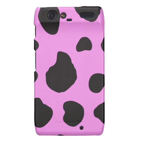 Animal Print, Cow Print, Spotted Cow - Pink Black Motorola Droid RAZR Case