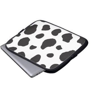 Animal Print, Cow Print, Spotted Cow - White Black Laptop Sleeve