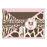 Animal Print Giraffe and Tutu Jumper Baby Shower Card