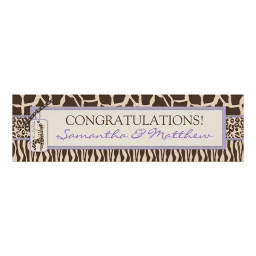 Animal Print & Giraffe Baby Shower Banner Lavender
