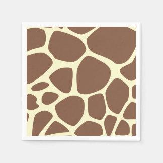 Animal Print, Giraffe Background - Brown Yellow Paper Napkin