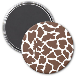 Animal Print (Giraffe Pattern) - Brown White 3 Inch Round Magnet