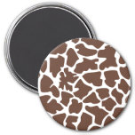 Animal Print (Giraffe Pattern) - Brown White Fridge Magnets