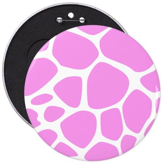 Animal Print (Giraffe Pattern) - Pink White Button
