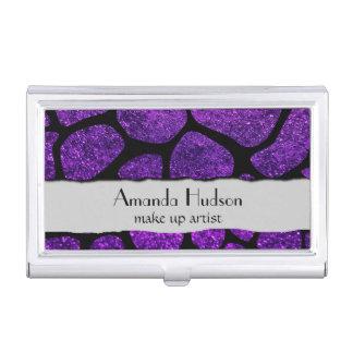 Animal Print Giraffe, Shiny Glitter - Black Purple Business Card Case