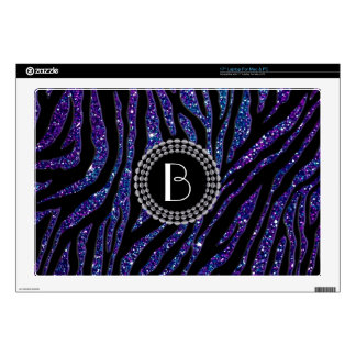 "Animal Print Glitter Zebra Pattern and Monogram 17"" Laptop Decal"