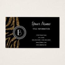 Animal Print Glitter Zebra Pattern and Monogram Business Card
