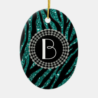 Animal Print Glitter Zebra Pattern and Monogram Ceramic Ornament