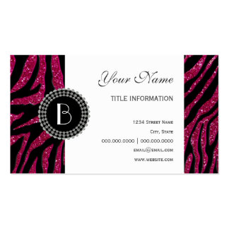 Animal Print Glitter Zebra Pattern and Monogram Double-Sided Standard Business Cards (Pack Of 100)