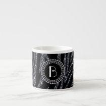Animal Print Glitter Zebra Pattern and Monogram Espresso Cup