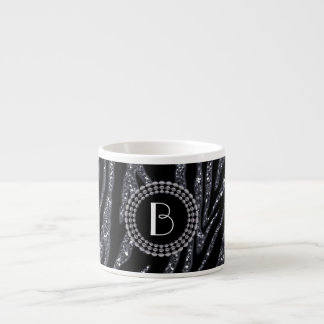 Animal Print Glitter Zebra Pattern and Monogram Espresso Cup