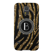 Animal Print Glitter Zebra Pattern and Monogram Galaxy S5 Case