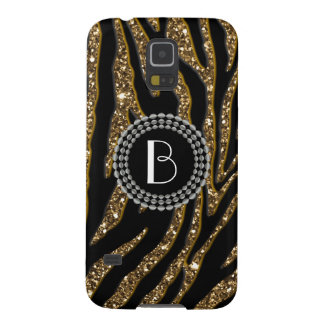 Animal Print Glitter Zebra Pattern and Monogram Galaxy S5 Case