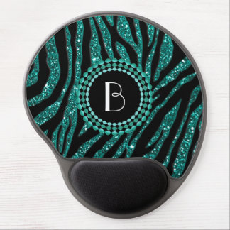 Animal Print Glitter Zebra Pattern and Monogram Gel Mouse Pad