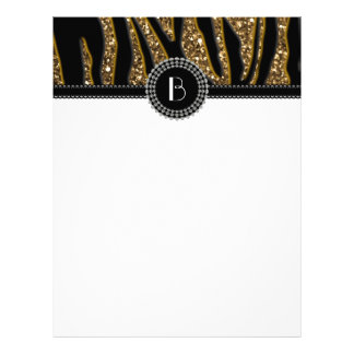 Animal Print Glitter Zebra Pattern and Monogram Letterhead