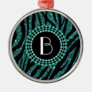 Animal Print Glitter Zebra Pattern and Monogram Metal Ornament